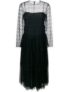 многослойное платье с панелью из тюля Red Valentino