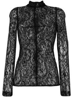 полупрозрачная кружевная блузка с цветочным узором  Givenchy