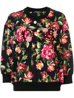 толстовка с цветочным принтом и аппликацией Dolce & Gabbana
