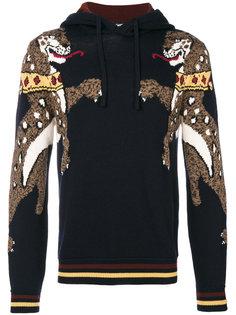 худи вязки интарсия с леопардами Dolce & Gabbana