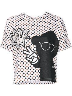 футболка в горошек с принтом  Emporio Armani