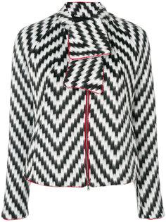 пиджак с принтом зигзаг и завязкой  Emporio Armani