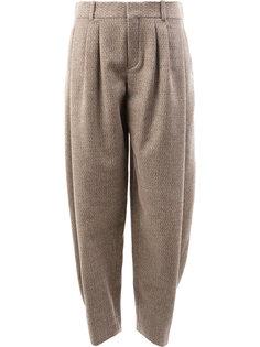 брюки со складками и узором  Chloé