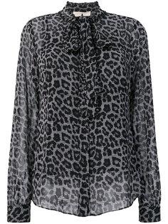 блузка с завязкой на бант с леопардовым принтом Michael Michael Kors