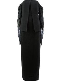 платье с открытыми плечами и баской  Vera Wang