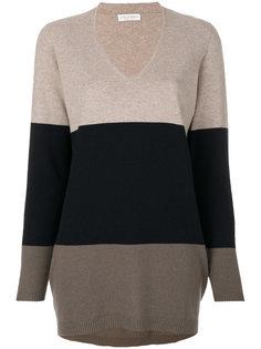 свитер с V-образным вырезом в полоску Le Tricot Perugia