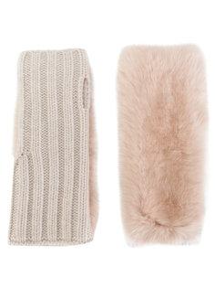 перчатки с кроличьим мехом Yves Salomon