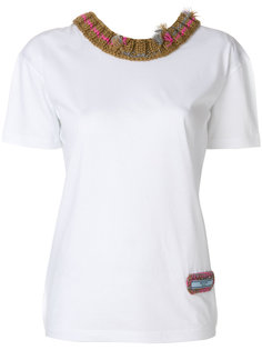 футболка с трикотажное отделкой  Prada