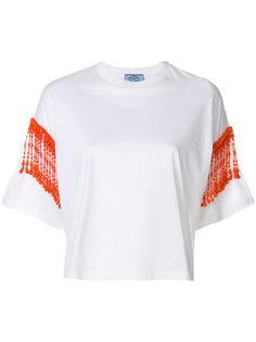 укороченная футболка с бахромой из бусин Prada