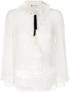 блузка с кружевом и оборкой  Lanvin