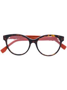 очки в круглой оправе с заклепками Fendi Eyewear