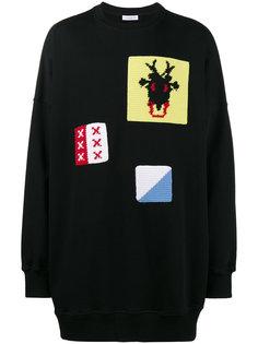 свитер свободного кроя с вязаными крючком заплатками JW Anderson