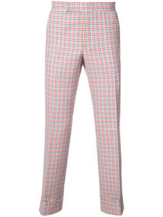 Mid-Rise Unconstructed Backstrap Trouser In Hopsack Check Double Woven Wool Crepe With Red, White And Blue Stripe Back Thom Browne