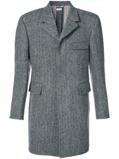 Button Back Classic Chesterfield Overcoat In Herringbone Harris Tweed Thom Browne