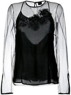прозрачный топ с цветочной вышивкой Versace