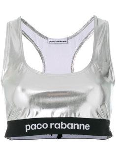 блестящий кроп-топ с логотипами на поясе Paco Rabanne