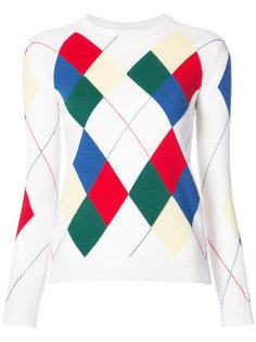 Classic Crewneck Pullover With Argyle Intarsia In Cashmere Thom Browne