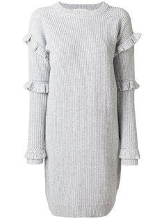 платье в рубчик с оборками  Michael Michael Kors