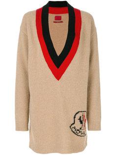 джемпер с логотипом и глубоким вырезом Moncler Gamme Rouge