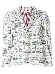 клетчатый твидовый пиджак Thom Browne