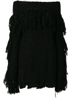 трикотажное платье мини с бахромой Philosophy Di Lorenzo Serafini