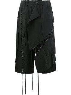 укороченные брюки с декоративной строчкой  Yohji Yamamoto