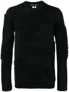 свитер в рубчик с камуфляжной аппликацией Comme Des Garçons Homme Plus