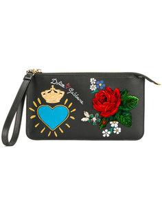 клатч с цветочной аппликацией Dolce & Gabbana