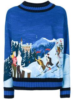 свитер с рисунком на лыжную тему Moncler