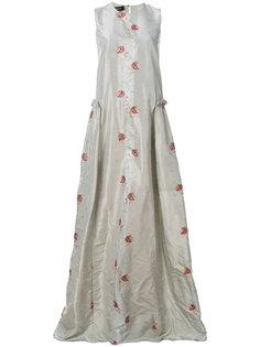платье в пол с цветочной вышивкой Rochas