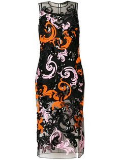 приталенное платье с украшением из пайеток Versace