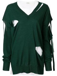 свитер свободного кроя с V-образной горловиной и вырезами P.A.R.O.S.H.