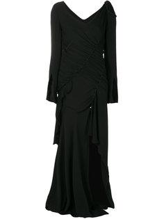 асимметричное платье с открытыми плечами с  дизайном со сборкой Versace