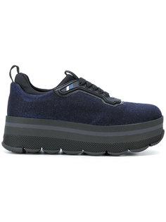 кроссовки на платформе с люрексом Prada