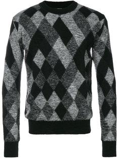 свитер с вышитым узором аргайл Saint Laurent