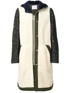пальто с контрастными рукавами Herringbone  Sacai
