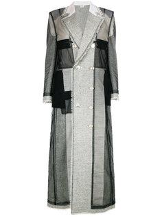 длинное пальто в стиле пэчворк  Thom Browne