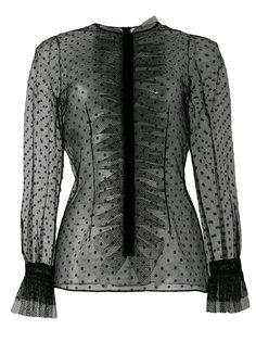 полупрозрачная блузка в горох с оборками  Philosophy Di Lorenzo Serafini
