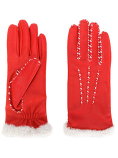 перчатки с контрастными стежками Agnelle