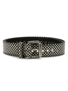 checked leather belt À La Garçonne