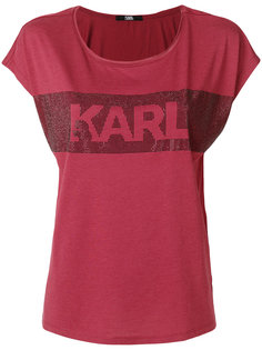 футболка с логотипом и декоративной отделкой  Karl Lagerfeld