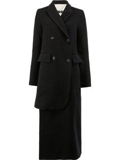 двубортное пальто асимметричного кроя Uma Wang