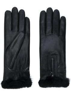перчатки с отделкой из кроличьего меха Agnelle