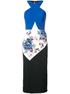 платье миди дизайна колор-блок Roland Mouret
