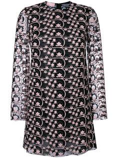 платье с вышивкой и полупрозрачной отделкой  Giamba