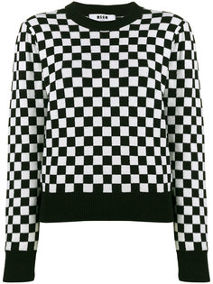 трикотажный свитер в шахматную клетку  MSGM