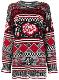 свободный свитер с принтом роз  MSGM