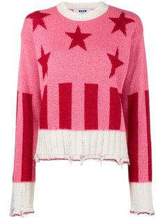 свитер со звездами и полосками  MSGM