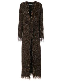 длинное твидовое пальто  Balmain