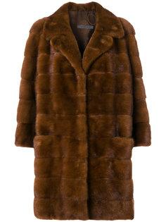 норковое пальто с панельным дизайном Simonetta Ravizza